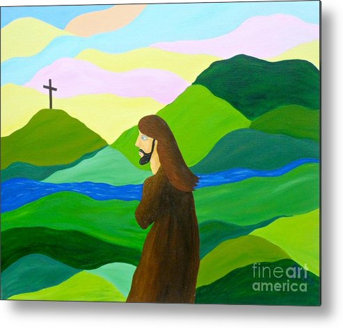 God Metal Print featuring the painting Risen A New Dawn by JoNeL Art