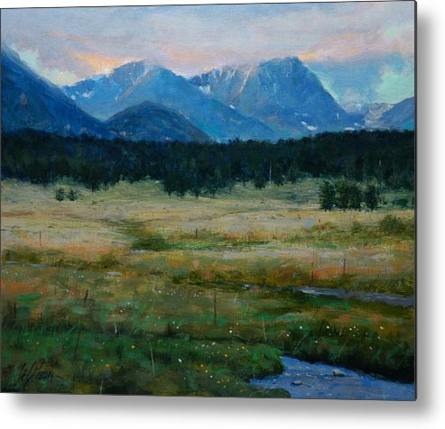 Landscape Metal Print featuring the painting Rocky Mountain National Park by Greg Clibon