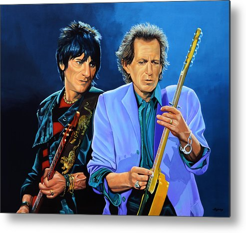 The Rolling Stones Metal Print featuring the painting Ron Wood and Keith Richards by Paul Meijering