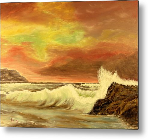 Seascape Metal Print featuring the painting Sea Scape 2 by Kenneth LePoidevin