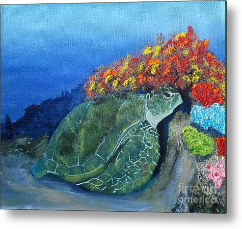 Turtle Metal Print featuring the painting Sea Turtle by Darlene Green