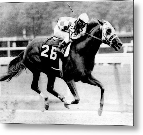 Classic Metal Print featuring the photograph Secretariat Vintage Horse Racing #12 by Retro Images Archive