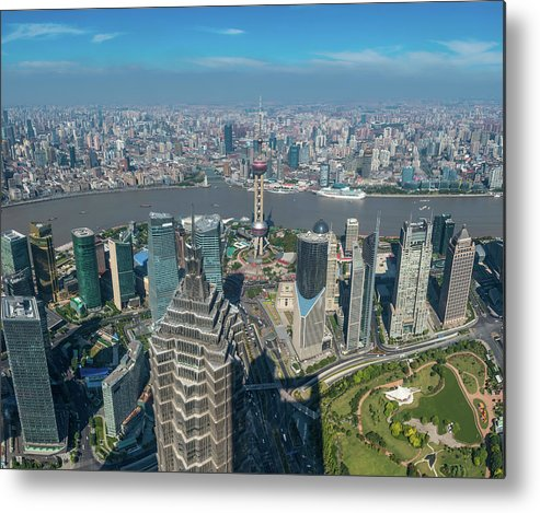 Chinese Culture Metal Print featuring the photograph Shanghai Aerial View Over Pundong by Fotovoyager