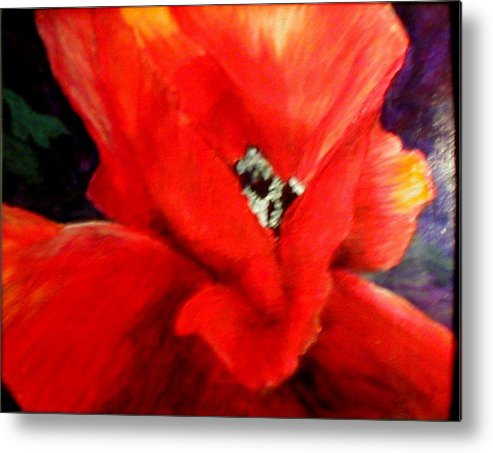 Floral Metal Print featuring the painting She Wore Red Ruffles by Gail Kirtz