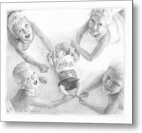 <a Href=http://miketheuer.com Target =_blank>www.miketheuer.com</a> Siblings With New Baby Pencil Portrait Metal Print featuring the drawing Siblings With New Baby Pencil Portrait by Mike Theuer