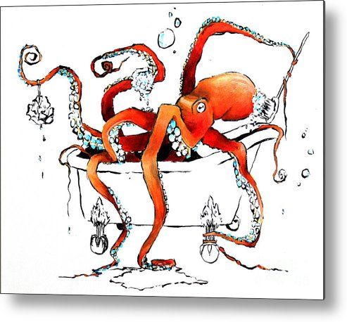 Octopus Metal Print featuring the painting Silly Octopus taking a bath by Arleana Holtzmann