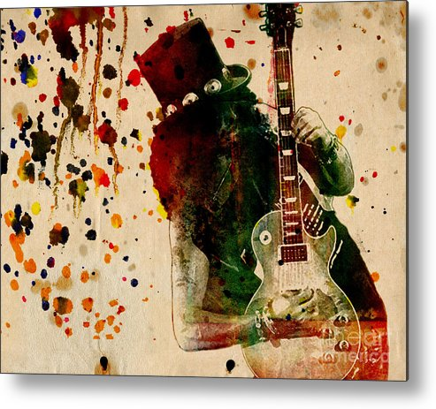 Rock N Roll Metal Print featuring the painting Slash - Watercolor Print from Original by Ryan Rock Artist