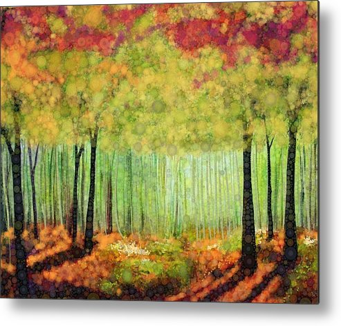 Magical Fall Colors That Invite Your Imagination To Dream. Delicate White Flowers Dot The Landscape Metal Print featuring the digital art Something Good by Steven Boland