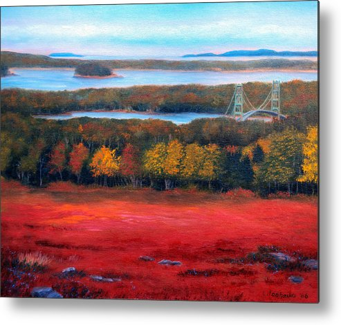 Maine Metal Print featuring the painting Stonington Bridge in Autumn by Laura Tasheiko