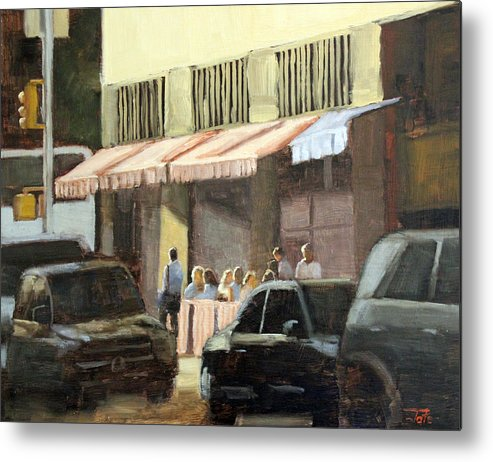 Restaurant Metal Print featuring the painting Street cafe by Tate Hamilton