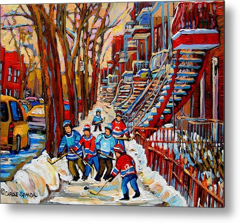 Montreal Metal Print featuring the painting Streets Of Verdun Hockey Art Montreal Street Scene With Outdoor Winding Staircases by Carole Spandau