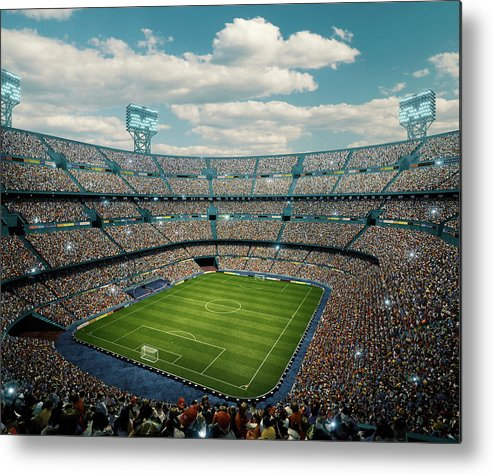Event Metal Print featuring the photograph Sunny Soccer Stadium Panorama by Dmytro Aksonov