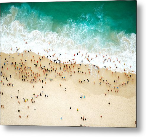 Water's Edge Metal Print featuring the photograph Swimmers Entering The Ocean by Tommy Clarke
