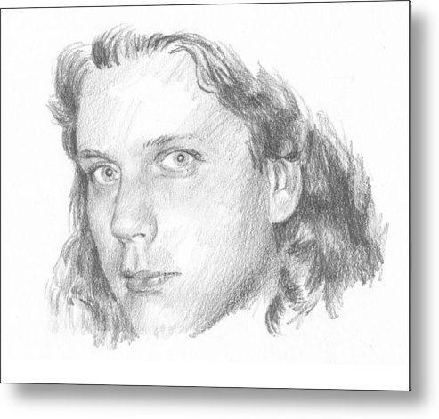 <a Href=http://miketheuer.com Target =_blank>www.miketheuer.com</a> Teenager Pencil Portrait Metal Print featuring the drawing Teenager Pencil Portrait by Mike Theuer