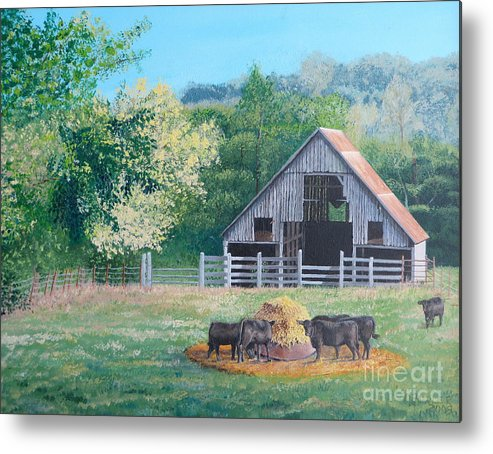 Pastoral Scene. The Barn Metal Print featuring the painting The Barn by Alicia Fowler