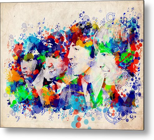Beatles Metal Print featuring the painting The Beatles 7 by Bekim M