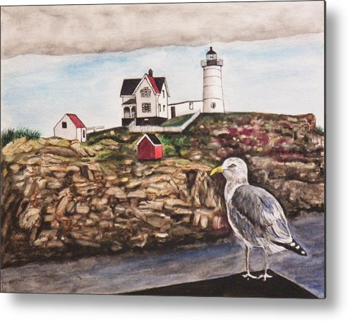 Seascape Metal Print featuring the painting The light House by Jim Reale
