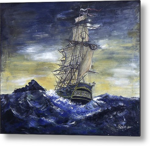 Seascape Metal Print featuring the painting The Ship by Jim Reale