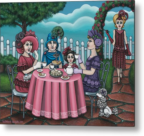 Tea Metal Print featuring the painting The Tea Party by Victoria Jones