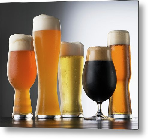 Five Objects Metal Print featuring the photograph Variety Of Beer Glasses by Jack Andersen