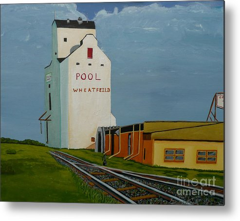 Grain Elevator Metal Print featuring the painting Wheatfield by Anthony Dunphy