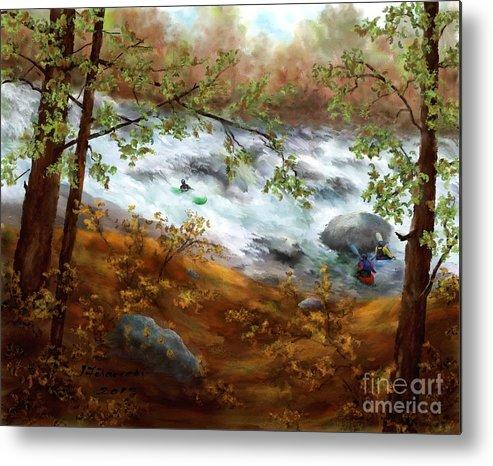 Whitewater Kayaking Metal Print featuring the painting Whitewater Kayaking by Judy Filarecki