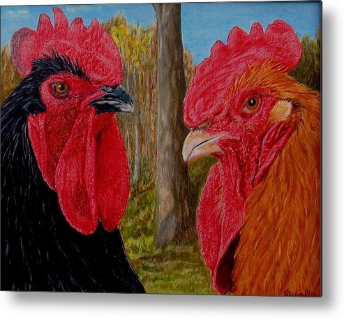 Roosters Metal Print featuring the painting Who You Calling Chicken by Karen Ilari