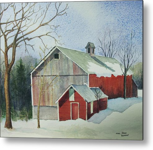 Christmas Card Metal Print featuring the painting Williston Barn by Mary Ellen Mueller Legault