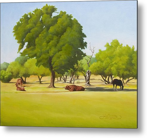 Texas Landscape Metal Print featuring the painting Wimberley Pastoral by Gary Hernandez