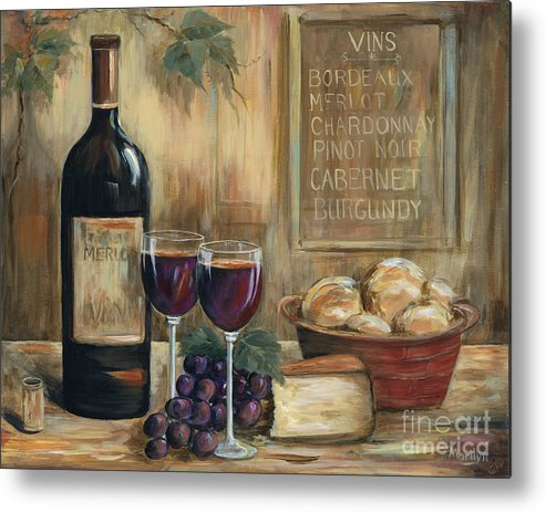 Wine Metal Print featuring the painting Wine For Two by Marilyn Dunlap