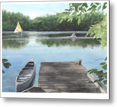 <a Href=http://miketheuer.com>www.miketheuer.com</a> Wooded Lake Watercolor Portrait Metal Print featuring the painting Wooded Lake Watercolor Portrait by Mike Theuer