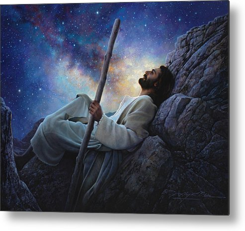 Jesus Metal Print featuring the painting Worlds Without End by Greg Olsen