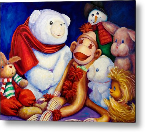 Sock Monkey Metal Print featuring the painting Friends by Shannon Grissom