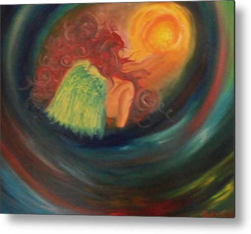 Angel Metal Print featuring the painting Angel Holding Light by Hollie Leffel