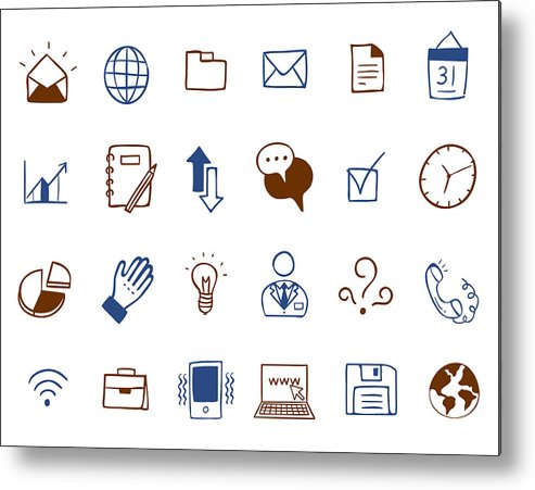 Horizontal Metal Print featuring the digital art Business Icon Set by Eastnine Inc.