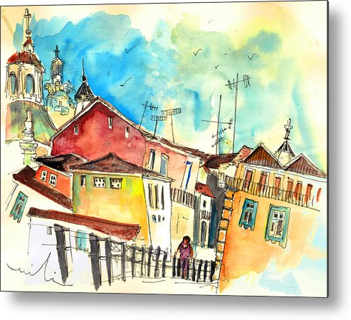 Portugal Metal Print featuring the painting Chaves in Portugal 02 by Miki De Goodaboom