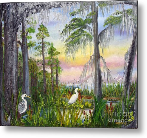 Cypress Trees Metal Print featuring the painting Cypress Sunrise by Darlene Green
