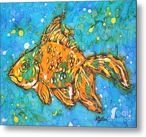 Painting Metal Print featuring the painting Goldfish by Norma Gafford