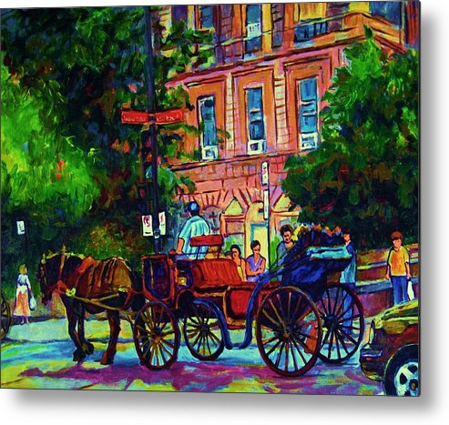 Rue Notre Dame Metal Print featuring the painting Horsedrawn Carriage by Carole Spandau