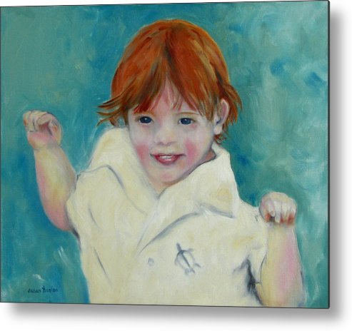 Child Metal Print featuring the painting Laughter by Susan Hanlon