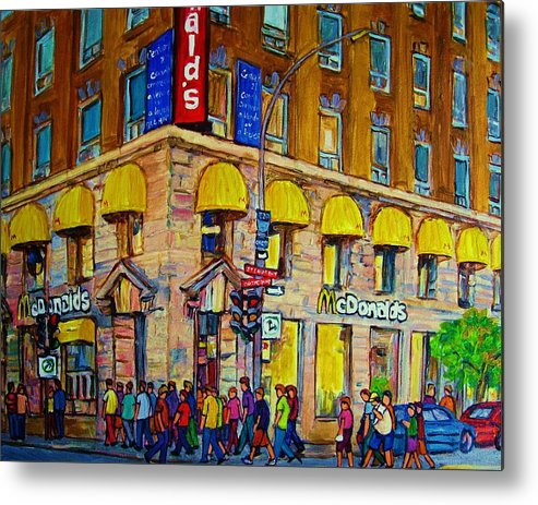 Mcdonald Restaurant Montreal Metal Print featuring the painting McDonald by Carole Spandau