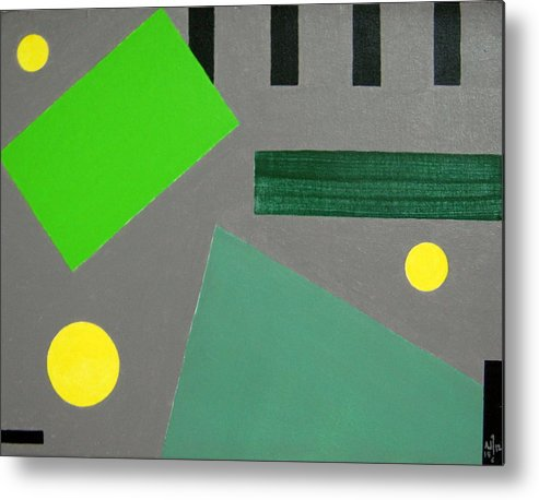 Geometrical Arrangement Metal Print featuring the painting No.364 by Vijayan Kannampilly