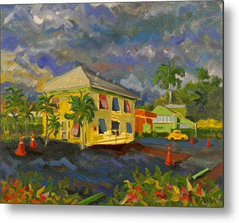 Key Lime House Metal Print featuring the painting Old Key Lime House by Ralph Papa