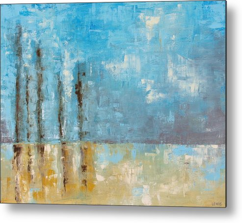 Blue Metal Print featuring the painting Reside by Ellen Lewis