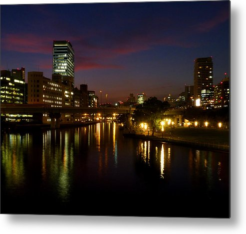 Osaka Evening River/skyscape Metal Print featuring the photograph Sorakawa by Baato