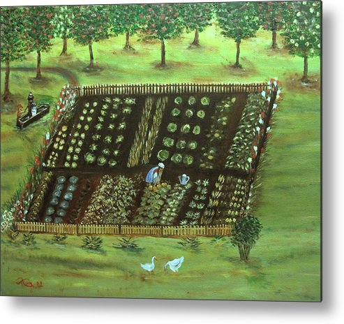 Landscape Metal Print featuring the painting The Garden by Kenneth LePoidevin