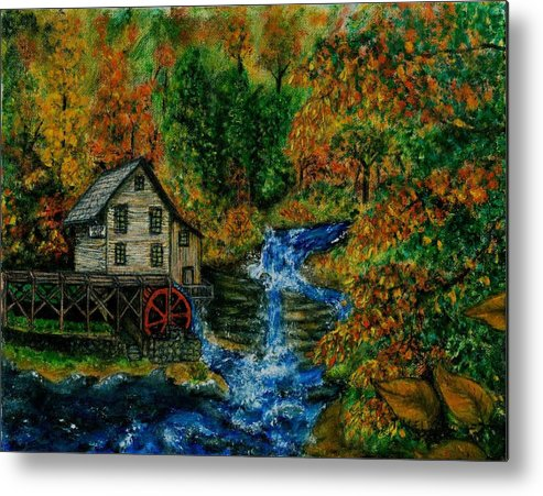 Mill Metal Print featuring the painting The Grist Mill in Autumn by Tanna Lee M Wells