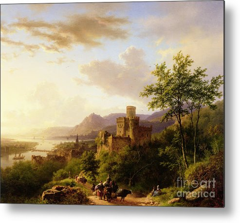 Travellers On A Path In An Extensive Rhineland Landscape Metal Print featuring the painting Travellers On A Path In An Extensive Rhineland Landscape by Barend Cornelis Koekkoek