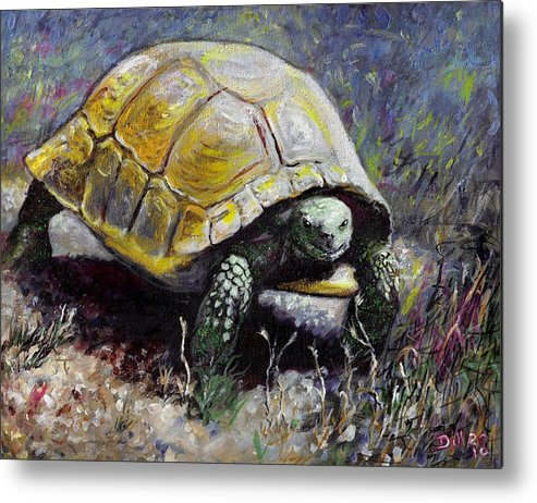 Turtle Nature Desert Green Wildlife Animal Shell Tortoise Metal Print featuring the painting Turtle by Rust Dill