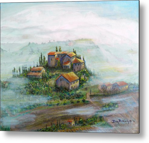 Landscape Metal Print featuring the painting Tuscany Sun-Break by Dan Bozich